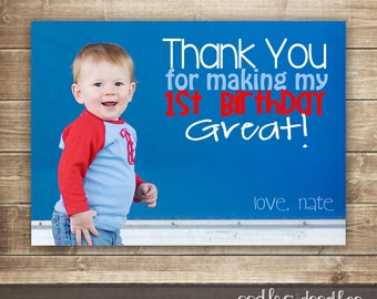 boy thank you notes  etsy, Birthday card