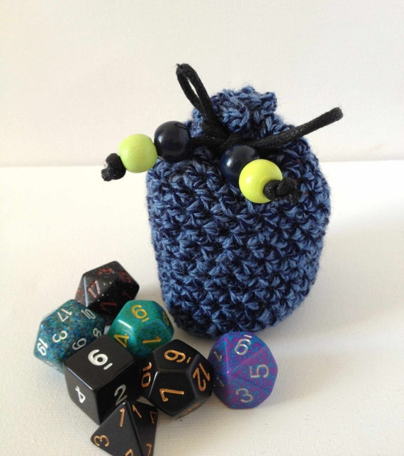 Blue Dice Bag, Hand Crocheted Coin Purse, Small Yarn Bag, Drawstring Pouch, Round Purse, Navy Blue and Lime Green, Hand Knit Bag