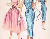 1950s McCalls 4115 Vintage Sewing Pattern Rockabilly Shirtdress Full Skirt or Slim Sexy Slit Neckline Tab Interest Bust 32