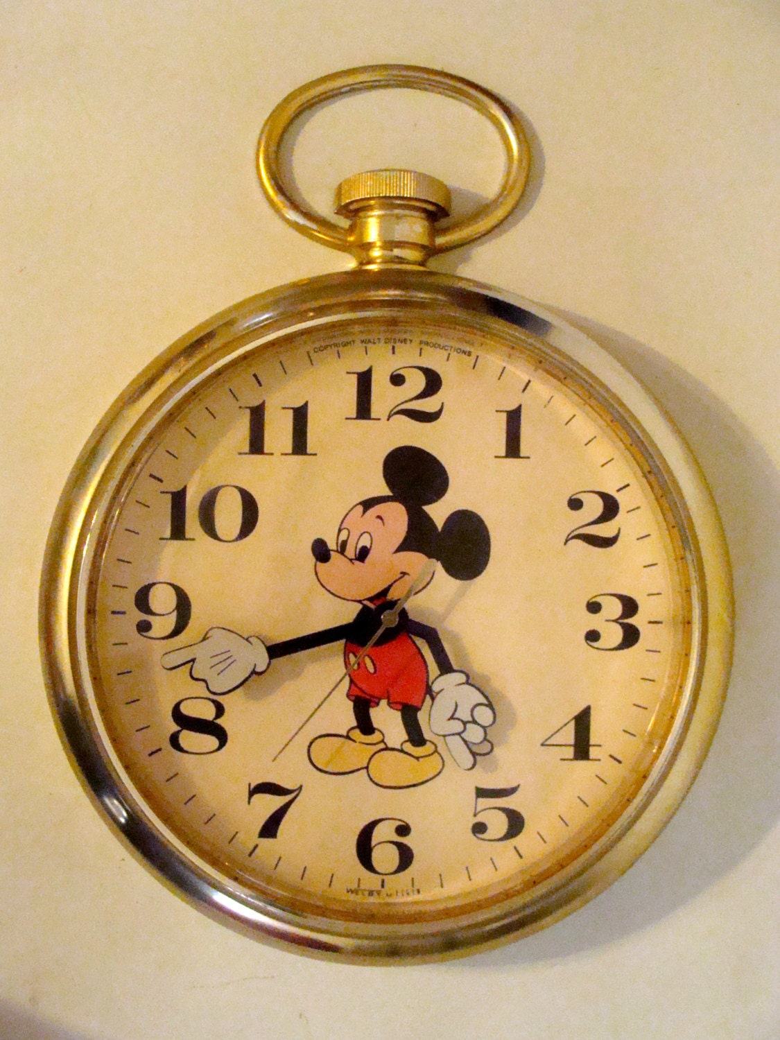 Large Vintage Disney Mickey Mouse Wall Clock All Original