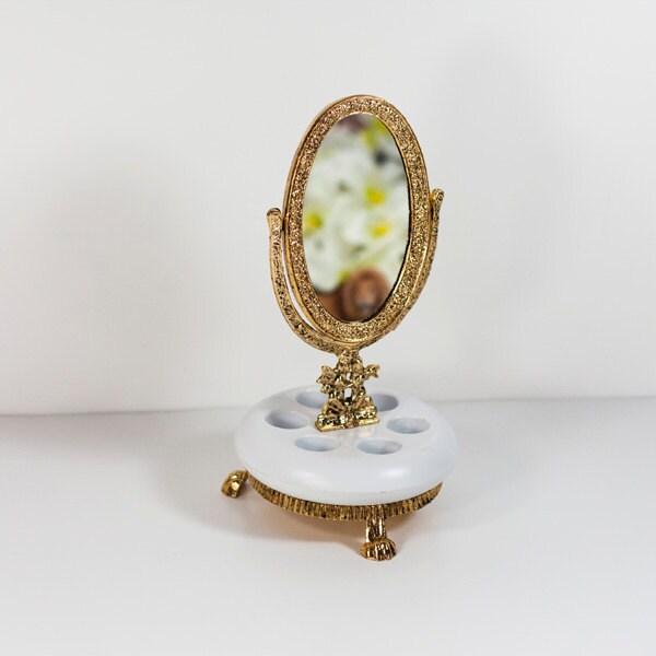 Makeup Mirror On Stand Vintage Brass Standing Mirror