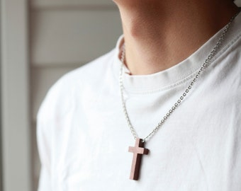 Mens Wooden cross - Mens Black Wood Cross Necklace - Wood cross