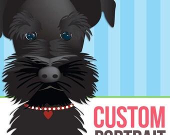 Custom Illustrated dog portrait with 8x10 print