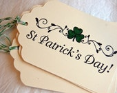 Irish Tags- St. Patrick's Day w/ Green Shamrocks -Set of 6 Gift Tags (w/ green and white baker's twine)
