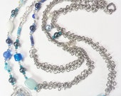 Necklace Blue Teal Chain Links Swarovski Crystal Pearls 433