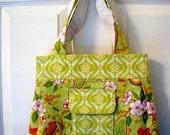 Green Floral  Purse. Green Handbag. Riley Blake Purse. OOAK Purse. Handmade Bag. Uk Seller.