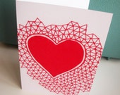 Red geometric heart love card. triangular indie pattern a6 card with envelope love heart.indie heart.valentines day - LaurelHowells