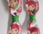 Pair of Strawberry Shortcake Inspired Hair Bow Clips