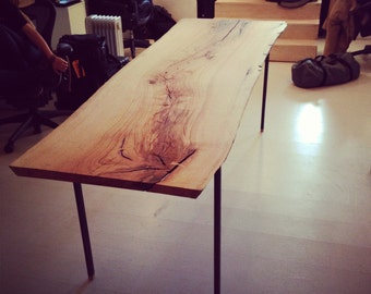 Live-Edge Wood Slab Dining / Conference Table with Raw Steel Base