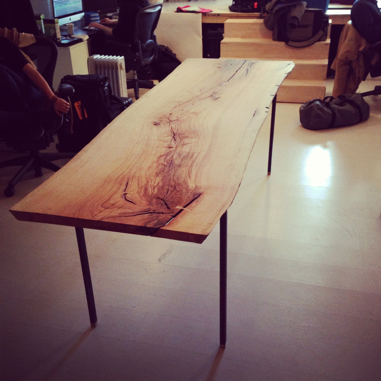 Live edge wood slab dining conference table with raw steel for Live edge wood slabs new york
