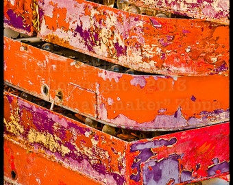 Peeling Paint Abstract Art Photo, Red Art, Orange Art, Las Vegas Neon Signs, Cracked Paint Texture, Decay Photography, Weathered Paint Print