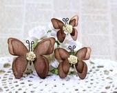 Burlap Paper Butterflies - Brown - Handmade Scrapbooking Embellishment - 3 Pieces