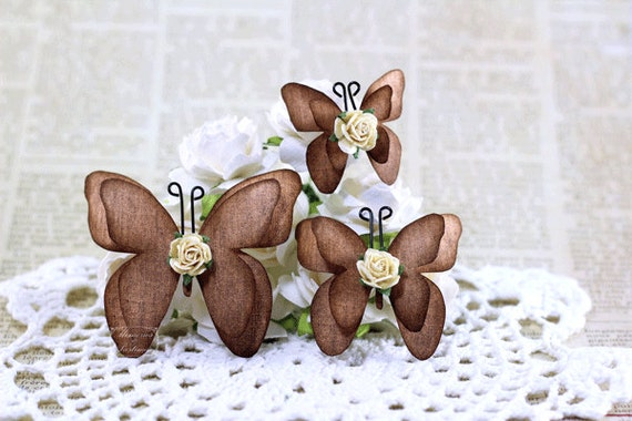 Burlap Paper Butterflies - Brown - Handmade Scrapbooking Embellishment - 3 Pieces