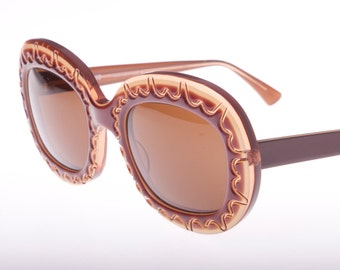 IDC ( eye DC) gorgeous handmade in France vintage oversized carved brown & cream color sunglasses, NOS 1980s