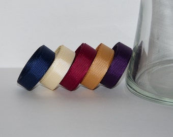 """3/8"""" (10mm) Grosgrain Ribbon 5 Yards (You choose the color:  Navy, Cream, Wine, Gold, or Plum)"""