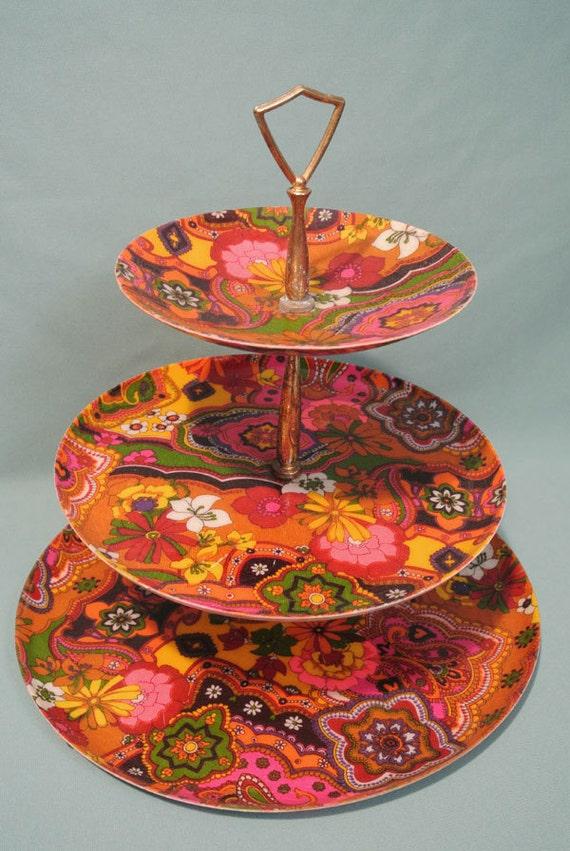 vintage psychedelic retro 3 tier serving tray by midcenturyshoppe. Black Bedroom Furniture Sets. Home Design Ideas