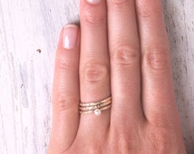 Thin gold ring, stacking rings,pearl ring,set of gold rings,swarovsky ring,knuckle rings, hammered ring, tiny ring, gold knuckle rings -603