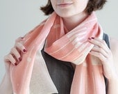SALE Modern, Minimalist Cotton Scarf - Blush Pink Gauze Wrap - Printed Shawl Scarf - Pastel - Gift for Her - Valentines day