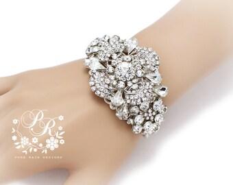Wedding Bracelet Victorian Style Rhinestone Bangle Bridal Bracelet Wedding Jewelry Wedding Accessory Bridal Jewelry Bridal Bangle meteor