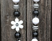 Chunky Black White Necklace Baby Girls Womens