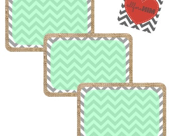 INSTANT DOWNLOAD- Burlap/Chevron Blank Gift Tags - GREEN - Digital File
