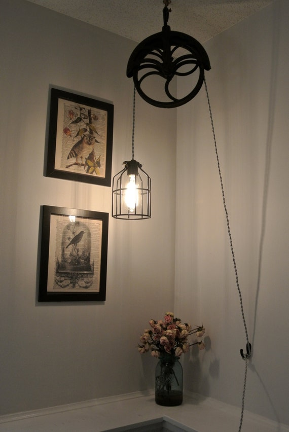 Upcycled Industrial Vintage Well Pulley Hanging Pendant Cage