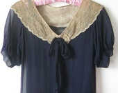 1920s Floaty Navy Silk Chiffon Dress with Ecru Lace Collar