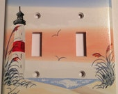 Red Stripe Lighthouse Double Toggle Lightswitch cover