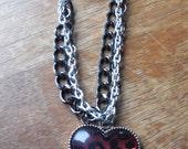 Pink & Black Heart Charm 3-Strand Bracelet