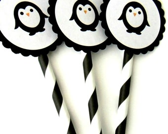 12 Penguin Party Straws