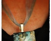 "Square Pendant Necklace ""Birth of Venus"" with Swarovski Crystal Drop Chain back"