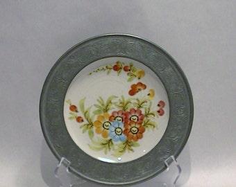 Antique Handgemalt Porcelain Plate with Embossed Pewter Rim or Collar