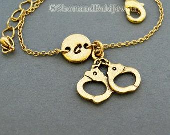 Handcuffs charm bracelet, handcuff, antique gold, initial bracelet, friendship, mothers, adjustable, monogram