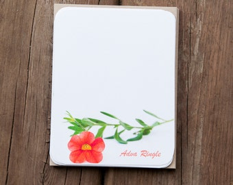 Stationary Set - Red Flower Note Cards - Personalized Stationery Gift