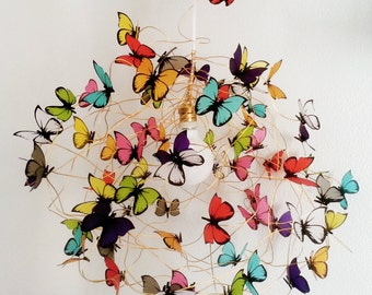 Wire Lamp Shade Handmade paper Butterfly Art Lamp Fairy Lighting Pendant Colorful Lampshade Ceiling Lamp Kids room shadow lamp chandelier