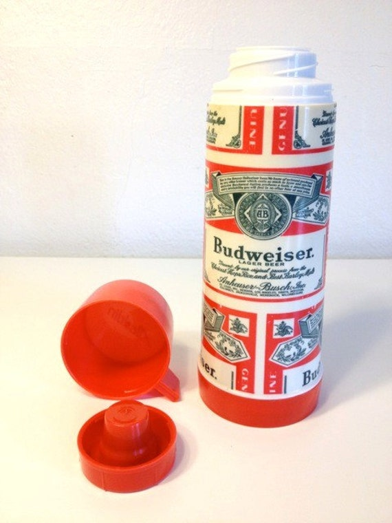 Budweiser Beer Alcohol Aladdin Thermos Coffee Hot Cocoa Soup Container Mug Retro Bar Barware Hot Cold Bud Drinking Rare Red Cup 60s 1960s