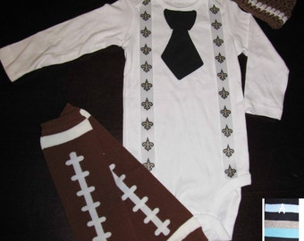 NEW ORLEANS SAINTS inspired football outfit for baby boy - tie bodysuit with suspenders, crochet hat, leg warmers