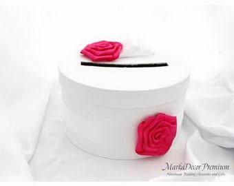 Card Box / Handmade Wedding Box / Money Card Box / Custom Gift Holder with Fabric Handmade Flowers