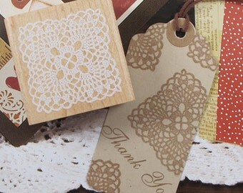Square Lace Stamp -- Wooden Rubber Stamp -- Diary Stamp -- Deco Stamp -- 1 piece