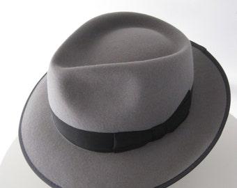 Light gray Fedora style hat, Classic hat in Fur Felt