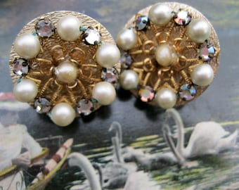 Rhinestone Faux Pearl Vintage Clip On Earrings Goldtone and Glamour