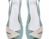 SALE 30% Discount // Peep Toe Flats // Summer Slingbacks // Womens Mint Green and Cream Peep Toe Flat Sandal
