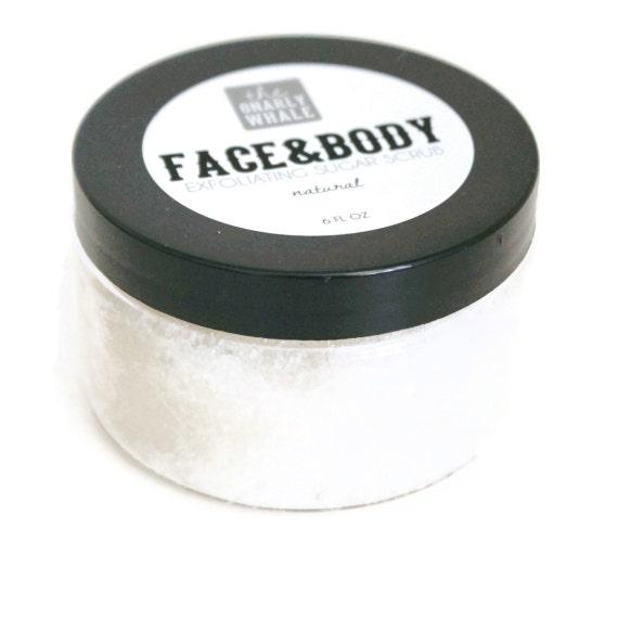 Natural Face and Body Exfoliating Sugar Scrub - Vegan 6 oz