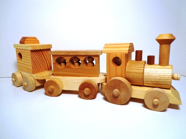 Wooden Toy Train Set Heirloom Quality by RusticBearWoodworks