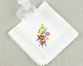 Vintage White Hankie w/ Embroidered Pink, Lavender, & Yellow Pansies w/ Lace Edge // delicate, whimsical, rustic, hanky (H-299)