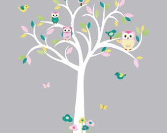 Owl wall decal, Owl tree wall sticker, Nursery Wall Decal, owl wall decal, nursery owl decor, Whimsy Design / White Tree