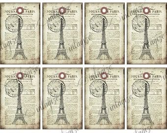 Printable Vintage French-Paris Newsprint & Eiffel Tower Gift Tags, Scrapbook,Cards, Etc- Original Collage Sheet INSTANT DIGITAL DOWNLOAD