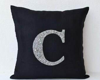 Customized Metallic Silver Monogram Decorative Pillow, Beaded Throw Pillow, Linen Pillow Case, Black linen Pillow, 16X16, Gift, Bead Pillows