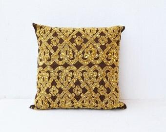 Brown throw pillows with bead sequin, Gold pillow, Silk pillows, Cushion cover zipper, Housewarming Gift, 16X16, Bead Embroidered Pillows