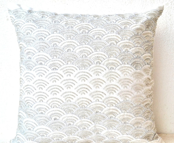 Throw Pillow Designer Pillow Cover With Silver Embroidery